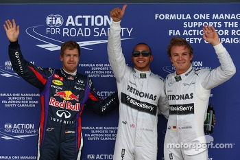 Pole for Lewis Hamilton, Mercedes AMG F1, 2nd Nico Rosberg, Mercedes AMG F1 W04 and 3rd Sebastian Vettel, Red Bull Racing RB9