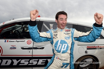 Simon Pagenaud celebrates his finish