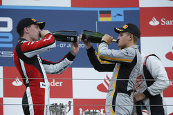Podium: race winner Marcus Ericsson, second place James Calado