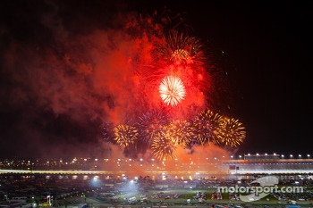 Fireworks during victory lane celebrations