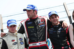 NASCAR: Sunday ELITE race podium – L-R : Willy Boucenna, Frédéric Gabillon, Yann Zimmer