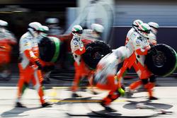 Sahara Force India F1 Team mechanics practice a pit stop