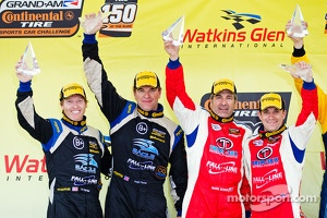 Race winners Bryan Sellers and Mark Boden, third place Al Carter and Hugh Plumb