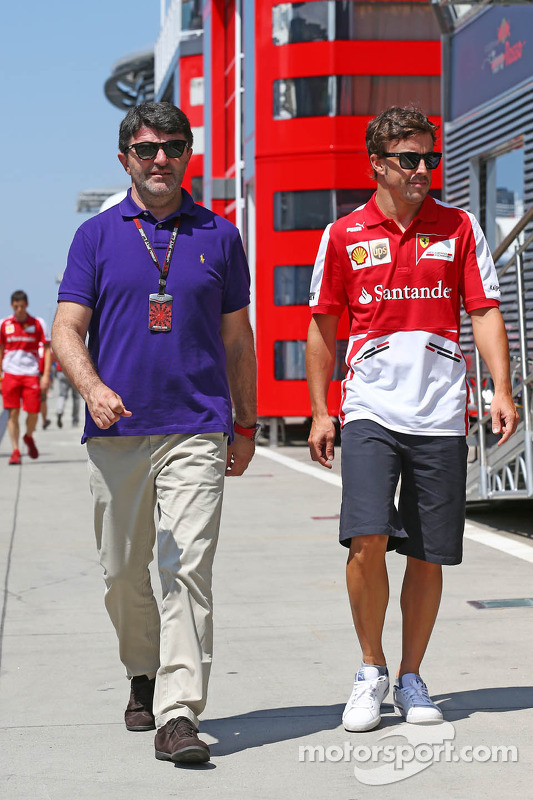 Fernando Alonso, Ferrari with his manager Luis Garcia Abad