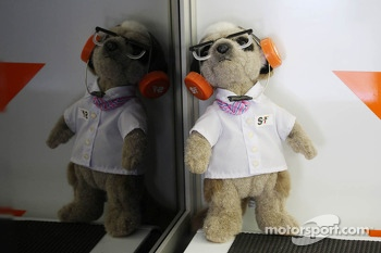 A Sahara Force India F1 Team mascot in the pit garage