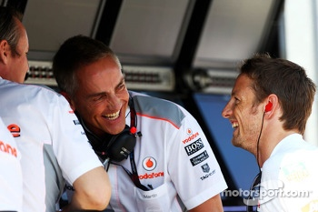 (L to R): Sam Michael, McLaren Sporting Director with Martin Whitmarsh, McLaren Chief Executive Officer and Jenson Button, McLaren