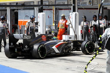 Esteban Gutierrez, Sauber C32 pulls into the pits and retires from the race
