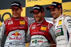 Podium, 2nd Mattias Ekström, Audi Sport Team Abt Sportsline, Audi A5 DTM, 1st Mike Rockenfeller, Audi Sport Team Phoenix Racing Audi A5 DTM, 3rd Augusto Farfus, BMW Team RBM BMW M3 DTM