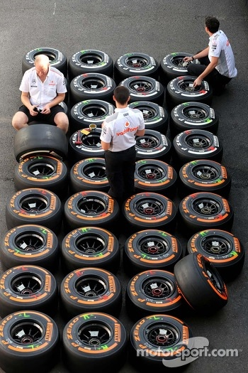 McLaren Mercedes mechanics, Pirelli tires