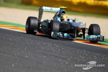 Lewis Hamilton, Mercedes AMG F1 W04 passes stones on the circuit