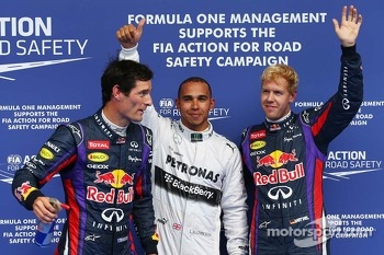 Pole for Lewis Hamilton, Mercedes AMG F1, 2nd for Sebastian Vettel, Red Bull Racing and 3rd for Mark Webber, Red Bull Racing who makes a quick getaway after the photo