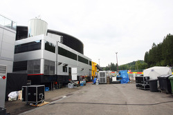 The scene behind the motorhomes in the paddock