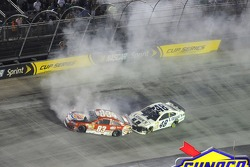 Crash for David Reutimann, BK Racing Toyota and Jimmie Johnson, Hendrick Motorsports Chevrolet