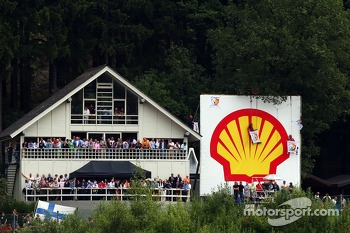 Greenpeace protest against race title sponsors Shell at Eau Rouge