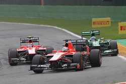 Jules Bianchi, Marussia F1 Team leads team mate Max Chilton, Marussia F1 Team and Charles Pic, Caterham