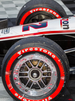 Worn tires of the after the race win of Will Power