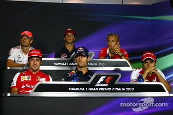 The FIA Press Conference: Jenson Button, McLaren; Daniel Ricciardo, Scuderia Toro Rosso; Max Chilton, Marussia F1 Team; Fernando Alonso, Ferrari; Mark Webber, Red Bull Racing; Felipe Massa, Ferrari