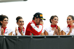 Second placed Fernando Alonso, Ferrari heads to the podium