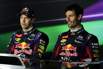 (L to R): Race winner Sebastian Vettel, Red Bull Racing and team mate Mark Webber, Red Bull Racing in the FIA Press Conference