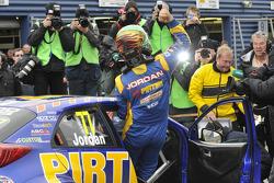 Andrew Jordan celebrates victory