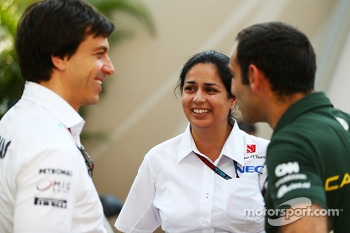 Toto Wolff, Mercedes AMG F1 Shareholder and Executive Director with Monisha Kaltenborn, Sauber Team Principal and Cyril Abiteboul, Caterham F1 Team Principal