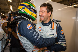 Pole winners Bruno Senna and Frédéric Makowiecki celebrate
