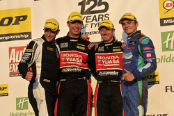Round 27 Podium; 1st Gordon Shedden, 2nd Aron Smith, 3rd Matt Neal, JST Winner Lea Wood