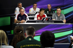 The FIA Press Conference: Beat Zehnder, Sauber F1 Team Manager; Andy Stevenson, Sahara Force India F1 Team Manager; Graham Watson, Caterham F1 Team Manager; Dickie Standford, Williams Team Manager; Massimo Rivola, Ferrari Sporting Director; Ron Meadows, M