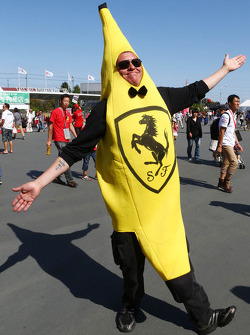 A Ferrari fan dressed as a banana