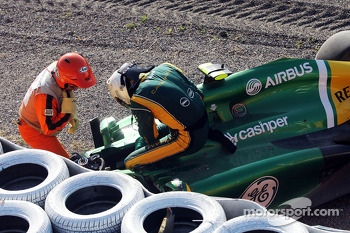 Giedo van der Garde, Caterham CT03 crashed out at the start of the race