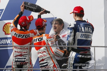 Race winner Dani Pedrosa, second place Marc Marquez, third place Jorge Lorenzo