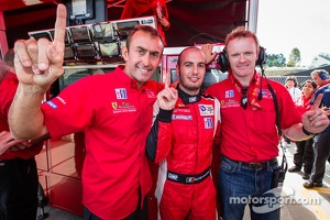 GT pole winner Matteo Malucelli with teammates Olivier Beretta and Robin Liddell