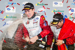 GTC podium: champagne for Madison Snow and Nelson Canache