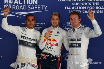 pole for Sebastian Vettel, Red Bull Racing, 2nd for Nico Rosberg, Mercedes and 3rd for Lewis Hamilton, Mercedes AMG F1