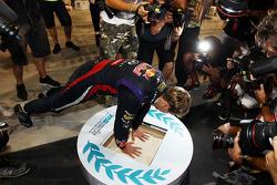 Race winner Sebastian Vettel, Red Bull Racing celebrates after the race