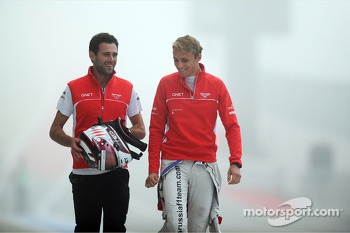(L to R): Sam Village, Marussia F1 Team with Max Chilton, Marussia F1 Team