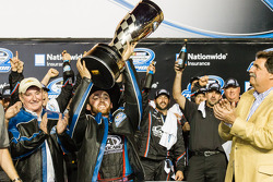 Championship victory lane: NASCAR Nationwide Series 2013 champion Austin Dillon celebrates