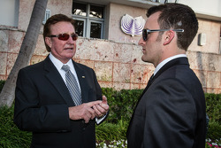 NASCAR Nationwide Series champion driver trophy Austin Dillon with Richard Childress