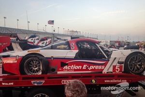 Damage on the #5 Action Express Racing Corvette DP after a crash