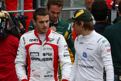 (L to R): Jules Bianchi, Marussia F1 Team and Charles Pic, Caterham on the drivers parade