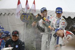 Winners Sébastien Ogier and Julien Ingrassia, third place Kris Meeke