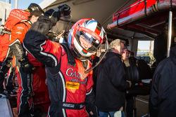 P class and overall pole winner Alex Gurney celebrates