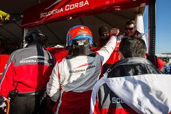 Toni Vilander celebrates after his provisional pole