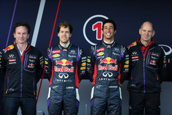 (L to R): Christian Horner, Red Bull Racing Team Principal, Sebastian Vettel, Red Bull Racing, Daniel Ricciardo, Red Bull Racing, Adrian Newey, Red Bull Racing Chief Technical Officer at the unveiling of the Red Bull Racing RB10