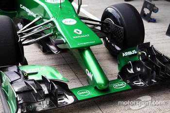 Marcus Ericsson, runs the Caterham CT04 for the first time - front wing and nosecone detail