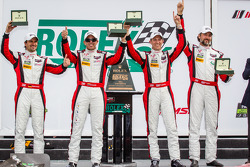 GTD victory lane: class winners Nelson Canache, Spencer Pumpelly, Tim Pappas, Markus Winkelhock