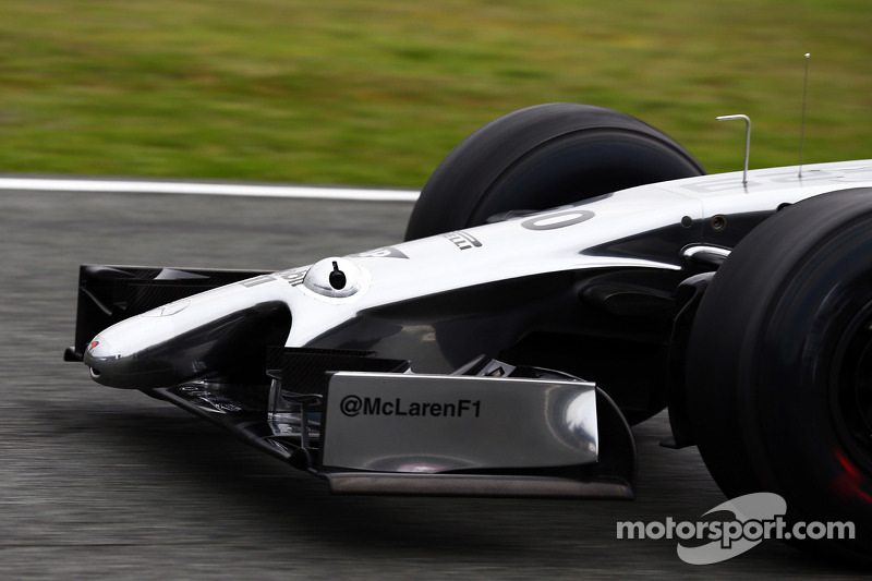 A camera mounted on the McLaren MP4-29 nosecone