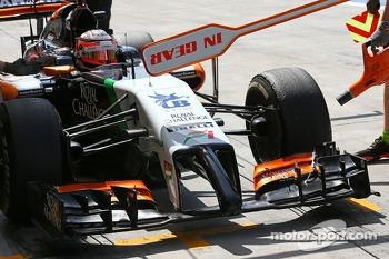 Nico Hulkenberg, Sahara Force India F1 VJM07 in the pits