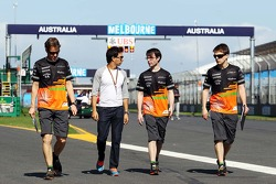 Sergio Perez, Sahara Force India F1 walks the circuit