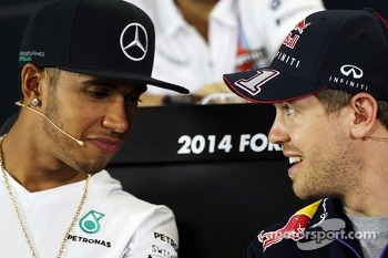 Lewis Hamilton, Mercedes AMG F1 and Sebastian Vettel, Red Bull Racing in the FIA Press Conference